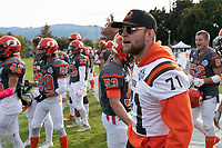KELOWNA, BC - OCTOBER 6: Austin Bowes #71 of Okanagan Sun stands on the sidelines against the VI Raiders at the Apple Bowl on October 6, 2019 in Kelowna, Canada. (Photo by Marissa Baecker/Shoot the Breeze)