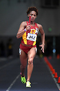 Feb 25, 2017; Seattle, WA, USA; Deanna Hill runs the anchor leg on the Southern California women's 4 x 400m relay that equaled the meet record of 3:32.54 during the MPSF Indoor Championships at the Dempsey Indoor.