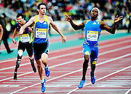 Robert Tobin (L) and Conrad Williams (R) from Great Britain finish the 400m final B