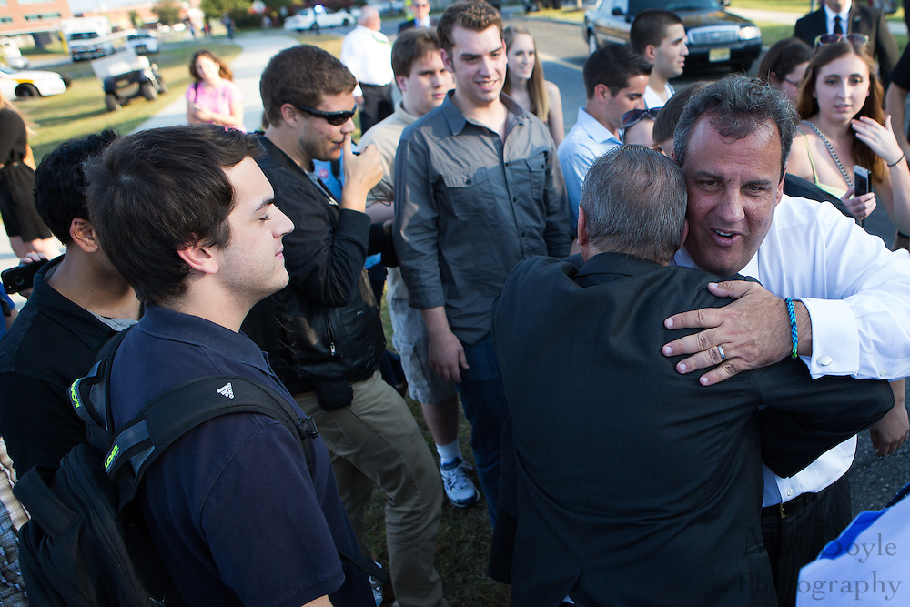 NJ Governor Chris Christie gets a hug from a supporter after the breaking ground at the Rowan Hall Expansion at Rowan University  in Glassboro, NJ on Wednesday October 2, 2013. (photo / Mat Boyle)