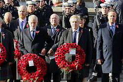 © Licensed to London News Pictures. 10/11/2019. London, UK. Prime Minister, Boris Johnson, Leader of the Labour Party, Jeremy Corbyn, former Prime Ministers David Cameron and Theresa May attend the Remembrance Sunday ceremony at the Cenotaph memorial in Whitehall, central London. Remembrance Sunday is held each year to commemorate the service men and women who fought in past military conflicts. Photo credit: Dinendra Haria/LNP