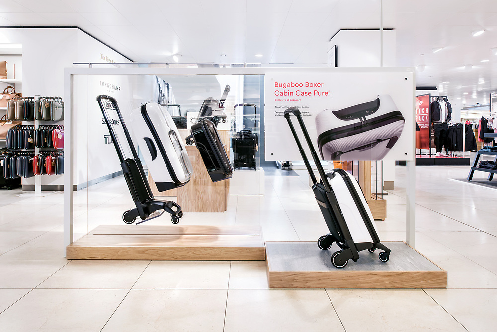 Interior Design Photo Shoot of Bugaboo Luggage Stand at De Bijenkorf Amsterdam - Images by Sal Marston Photography