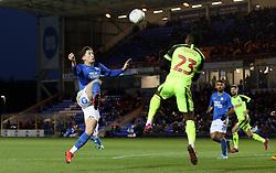 Alex Woodyard of Peterborough United in action with Joe Dodoo of Bolton Wanderers - Mandatory by-line: Joe Dent/JMP - 14/12/2019 - FOOTBALL - Weston Homes Stadium - Peterborough, England - Peterborough United v Bolton Wanderers - Sky Bet League One