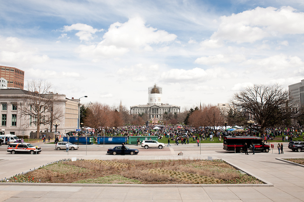 Civic Center Park, where Denver hosted a large pro-marijuana rally during the first year of recreational legalization in the state.