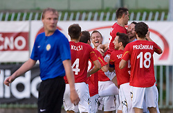 Players of Rudar celebrates goal of Fabijan Cipot at 1st Round of Europe League football match between NK Rudar Velenje (Slovenia) and Trans Narva (Estonia), on July 9 2009, in Velenje, Slovenia. Rudar won 3:1 and qualified to 2nd Round. (Photo by Vid Ponikvar / Sportida)