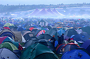 A sea of tents, early morning at Glastonbury 2005