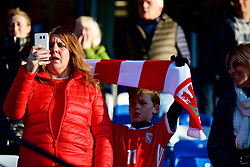 BANGOR, WALES - Monday, October 15, 2018: Wales supporters during the UEFA Under-19 International Friendly match between Wales and Poland at the VSM Bangor Stadium. (Pic by Paul Greenwood/Propaganda)