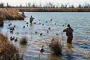 Duck hunters reset decoys while hunting on a private watershed lake near Shamrock, Oklahoma