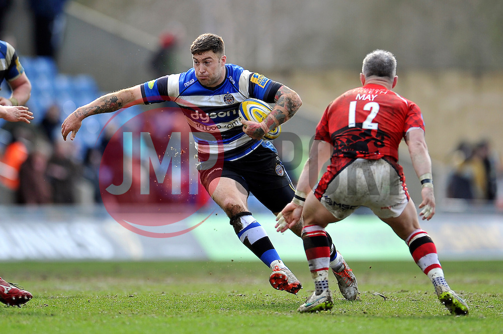Matt Banahan of Bath Rugby in possession - Photo mandatory by-line: Patrick Khachfe/JMP - Mobile: 07966 386802 29/03/2015 - SPORT - RUGBY UNION - Oxford - Kassam Stadium - London Welsh v Bath Rugby - Aviva Premiership