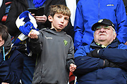 Leeds United fan during the EFL Sky Bet Championship match between Bristol City and Leeds United at Ashton Gate, Bristol, England on 9 March 2019.