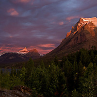 Sunrise with storm clouds at Sun Point  East  Glacier National Park, Montana