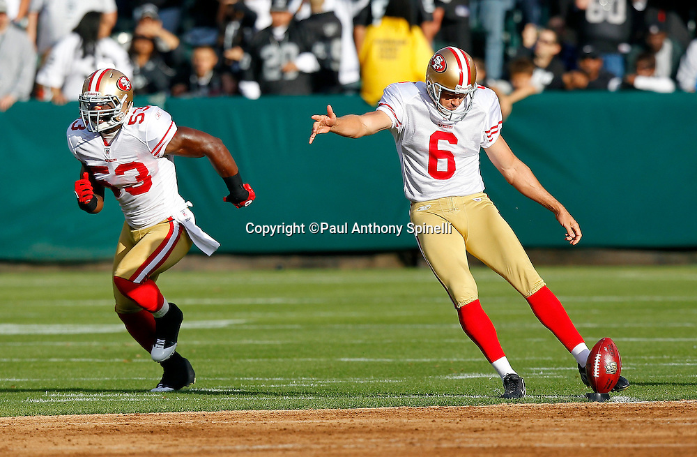 San Francisco 49ers kicker Joe Nedney (6) kicks off to start the game during the NFL preseason week 3 football game against the Oakland Raiders on Saturday, August 28, 2010 in Oakland, California. The 49ers won the game 28-24. (©Paul Anthony Spinelli)