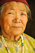 Mature local woman. Photographed in India, Jammu and Kashmir, Ladakh, Leh