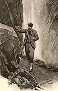The Adventure of the Final Problem'. Watson, returning to the Reichenbach Falls, finds the Alpen-stock belonging to Sherlock Holmes, together with his farewell note.  Illustration by Sidney E Paget (1860-1908) for 'The Adventures of Sherlock Holmes'  by Arthur Conan Doyle in 'The Strand Magazine' (London, 1893).  Paget was the first artist to draw  Holmes.
