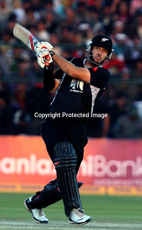 New Zealand batsman Daniel Vettori plays a shot during the 2nd ODI india vs New Zealand Played at Sawai Mansingh Stadium, Jaipur, 1 December 2010 - day/night (50-over match)