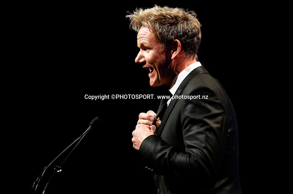 Gordon Ramsay speaks during Dinner With Gordon Ramsay. Vodafone Events Centre, Manukau, Auckland. Friday 26 April 2013.  Photo: Simon Watts / photosport.co.nz