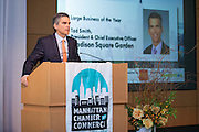 2014 Large Business of the Year awardee Tad Smith, President and Chief Executive Officer, Madison Square Garden. Celebrating the business leaders in New York City, who have built outstanding businesses - contributing to the economy and community as well. The MCC Business Awards Breakfast is the Manhattan Chamber's premiere event adn was attended by over 250 entrepreneurs, business owners, executives and legislative leaders in New York City. (Photo: www.JeffreyHolmes.com)