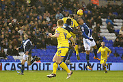 Birmingham City forward James Vaughan (15) goes in for the header during the Sky Bet Championship match between Birmingham City and Sheffield Wednesday at St Andrews, Birmingham, England on 6 February 2016. Photo by Jon Hobley.
