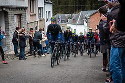 Team Movistar leading the peloton at Côte de Saint-Roch with 128 km to go, the 102th edition of Liège-Bastogne-Liège race running 253 km from Liège to Liège, Belgium, 24 April 2016.<br /> Photo by Pim Nijland / PelotonPhotos.com<br /> <br /> All photos usage must carry mandatory copyright credit (© Peloton Photos | Pim Nijland)