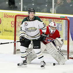 COBOURG, ON  - MAR 4,  2017: Ontario Junior Hockey League, playoff game between the Cobourg Cougars and the Kingston Voyageurs. Jake Bricknell #26 of the Cobourg Cougars during the third period.<br /> (Photo by Tim Bates / OJHL Images)