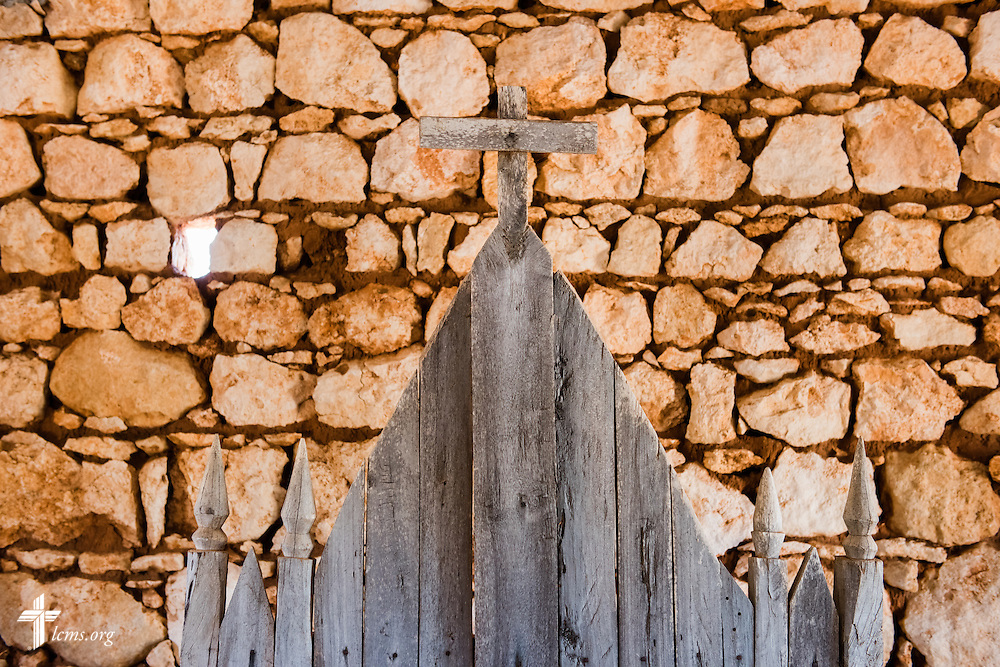 A wooden altar at a church near Tsiombe, southern Madagascar, on Tuesday, Oct. 21, 2014. The church's tin roof was provided by The Lutheran Church–Missouri Synod. LCMS Communications/Erik M. Lunsford