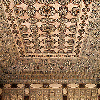 Asia, India, Amer. Sheesh Mahal, Palace of Mirrors Ceiling of Amber Palace.