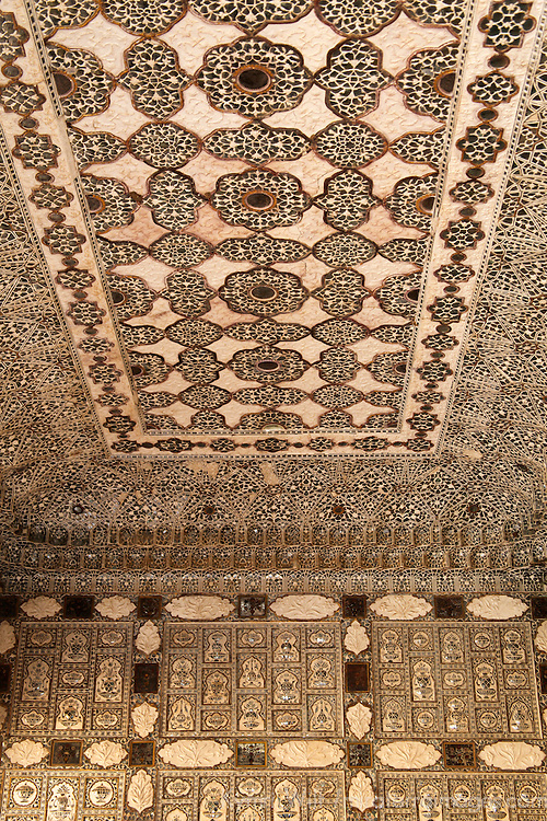 Asia, India, Amer. Sheesh Mahal, Palace of Mirrors Ceiling of Amber Palace.