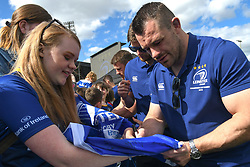 May 13, 2018 - Dublin, Ireland - Leinster's Cian Healy signs autographs to fans during the homecoming ceremony at Energia Park, Donnybrook, following their victory in the European Champions Cup Final in Bilbao, Spain..On Sunday, May 13, 2018, in Donnybrook, Dublin, Ireland. (Credit Image: © Artur Widak/NurPhoto via ZUMA Press)