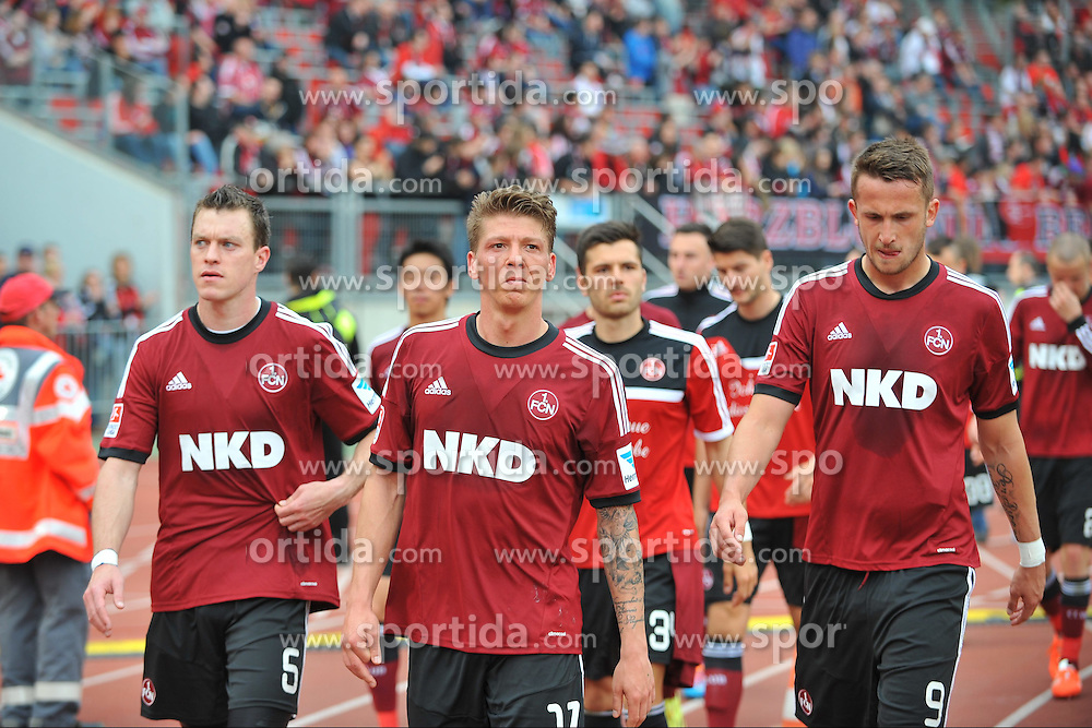 05.04.2014, easyCredit Stadion, Nuernberg, GER, 1. FBL, 1. FC Nuernberg vs Borussia Moenchengladbach, 29. Runde, im Bild (v.l.n.r.): Hanno Balitsch (1.FC Nuernberg), Mike Frantz (1.FC Nuernberg) und Tomas Pekhart (1.FC Nuernberg). // during the German Bundesliga 29th round match between 1. FC Nuernberg and Borussia Moenchengladbach at the easyCredit Stadion in Nuernberg, Germany on 2014/04/05. EXPA Pictures &copy; 2014, PhotoCredit: EXPA/ Eibner-Pressefoto/ Merz<br /> <br /> *****ATTENTION - OUT of GER*****