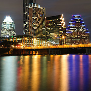 The city skyline of downtown Austin, Texas, as seen from across Town Lake.
