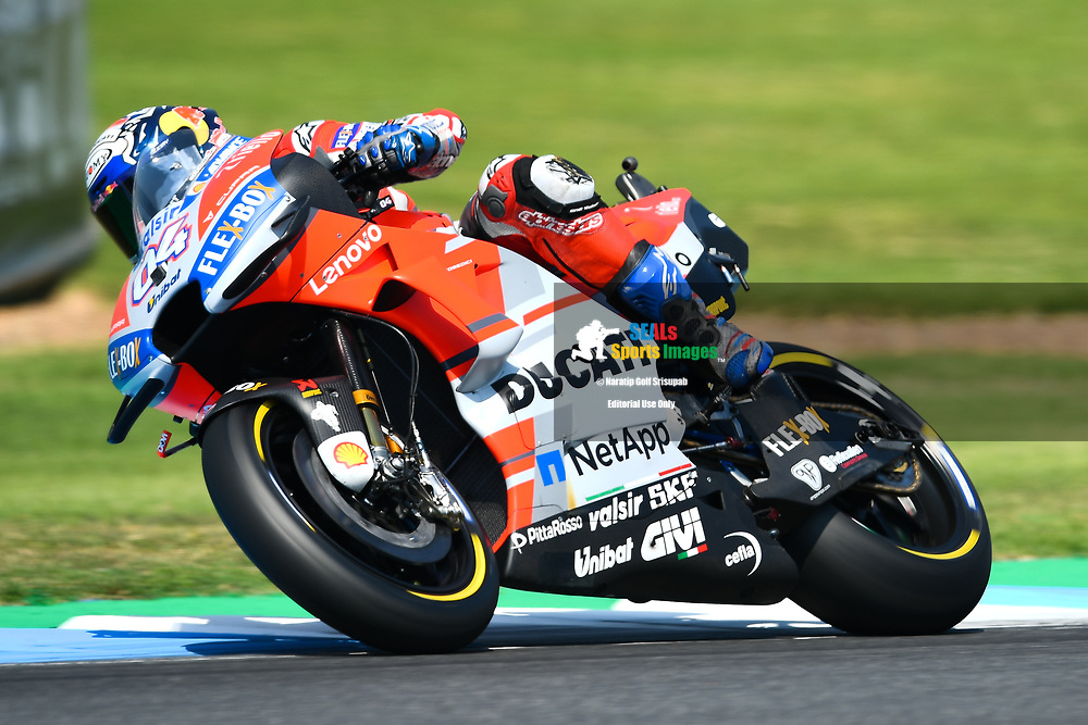 BURIRAM, THAILAND - OCTOBER 06: Andrea Dovizioso (04) of Italy and Ducati Team in Turn 3 during FP3 at the MotoGP PTT Thailand Grand Prix 2018, Chang International Circuit, Buriram, Thailand on October 06, 2018. <br /> .<br /> .<br /> .<br /> (Photo by: Naratip Golf Srisupab/SEALs Sports Images)<br /> .<br /> Any image use must include a mandatory credit line adjacent to the content which should read: Naratip Golf Srisupab/SEALs Sports Images