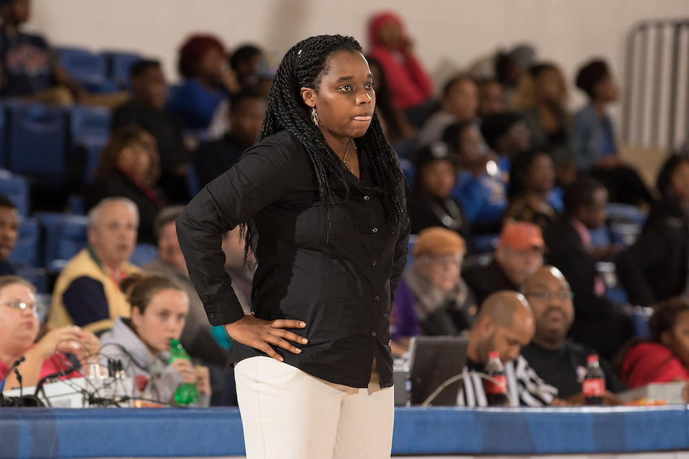 Dec. 3, 2014; Morrow, GA, USA; CSU's women's head coach Kaleena Coleman in action against Fort Valley State at CSU. Clayton State won 87-73. Photo by Kevin Liles / kevindliles.com