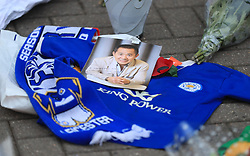 Tributes at Leicester City Football Club. Leicester Chairman, Vichai Srivaddhanaprabha, was among those to have tragically lost their lives on Saturday evening when a helicopter carrying him and four other people crashed outside King Power Stadium.