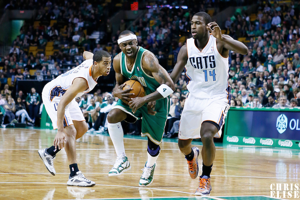 16 March 2013: Boston Celtics shooting guard Jason Terry (4) drives past Charlotte Bobcats small forward Michael Kidd-Gilchrist (14) during the Boston Celtics 105-88 victory over the Charlotte Bobcats at the TD Garden, Boston, Massachusetts, USA.
