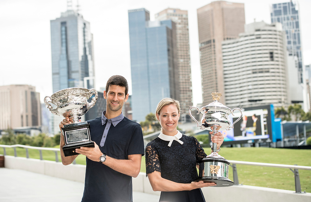 Novak Djokovic of Serbia and Angelique Kerber of Germany take part in the official draw ceremony ahead of the 2017 Australian Open at Melbourne Park on January 13, 2017 in Melbourne, Australia.<br /> (Ben Solomon/Tennis Australia)