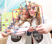 Doireann Morrison and Niamh Farrell from Buaile Beag Rahoon at the Medtronic Community Event , comprising of projects about Healthy Living and the heart, KNEX finals and Lean Sigma catapult competitionorganised by the Galway Education Centre at the Radisson Blu Hotel Galway. Photo:Andrew Downes.
