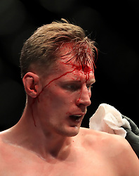 Alexander Volkov in action during his Heavyweight fight at The O2 Arena, London.