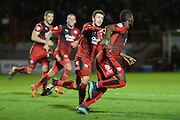 Roarie Deacon of Crawley Town runs and celebrates after his winning goal during the Sky Bet League 2 match between Crawley Town and Stevenage at the Checkatrade.com Stadium, Crawley, England on 26 December 2015. Photo by Phil Duncan.