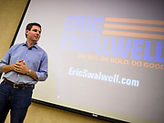 11 APRIL 2019 - AMES, IOWA: Rep. ERIC SWALWELL (D-CA) at his town hall meeting on the campus of Iowa State University in Ames. Swalwell represents California's 15th District but is originally from Algona, Iowa. His appearance in Ames Thursday was his first appearance in Iowa since announcing his candidacy to be the Democratic nominee for the US Presidency on April 8, although he made about 20 trips to Iowa since the 2016 election. Iowa traditionally hosts the the first election event of the presidential election cycle. The Iowa Caucuses will be on Feb. 3, 2020.           PHOTO BY JACK KURTZ
