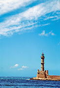 Venetian Lighthouse, in Old Harbor, in Hania (Chania), on the island of Crete, in Greece, Europe.