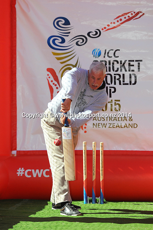 Sir Richard Hadlee faces a bowl from Minister for Sport and Recreation Jonathan Colman during the ICC 2015 Cricket World Cup Trophy Tour comes to Nelson. Nelson College, Nelson, New Zealand. Thursday 20 November 2014. Photo: Chris Symes/www.photosport.co.nz