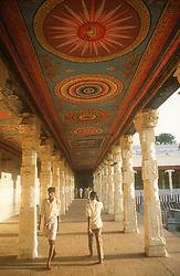 Ceiling paintings and walkway at the temple at Madurai; Tamil Nadu; India,