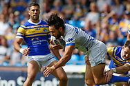 Richie Myler (R) of Leeds Rhinos  tackles Mark Khierallah of Toulouse Olympique during the Betfred Super 8s Qualifiers match at Emerald Headingley Stadium, Leeds<br /> Picture by Stephen Gaunt/Focus Images Ltd +447904 833202<br /> 11/08/2018
