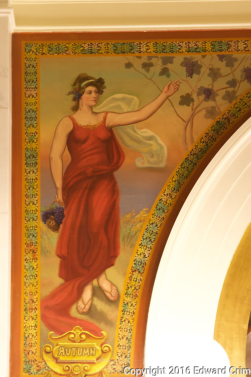 Autumn, a painting by Donald MacGregor on the ground floor of the north light court in the Pennsylvania capitol in Harrisburg.