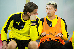 Roman Weidenfeller of Borussia Dortmund (L) and Kevin Kampl of Borussia Dortmund prior to the football match between WAC Wolfsberg (AUT) and  Borussia Dortmund (GER) in First leg of Third qualifying round of UEFA Europa League 2015/16, on July 30, 2015 in Wörthersee Stadion, Klagenfurt, Austria. Photo by Vid Ponikvar / Sportida