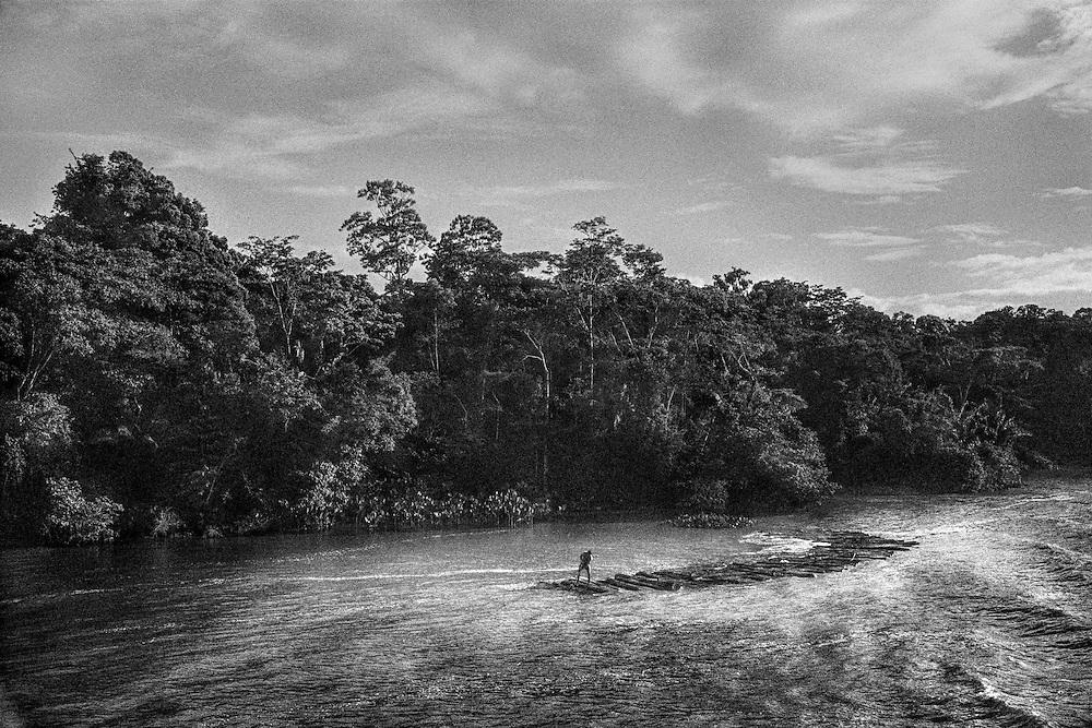 Brazil, rio Tapajos, Para.<br /> <br /> L'exploitation de la foret est un formidable enjeu, aussi bien economique que strategique pour le Bresil aux prises avec un developpement erratique.<br /> Les scieries plus ou moins legales se succedent au bord des fleuves pour faciliter le transport des grumes de bois jusqu'a l'embouchure de l'Amazone. Elles deviennent le point d'encrage des communautes qui dependent de cette activite.