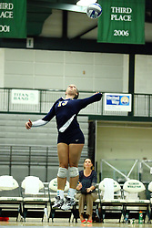 22 September 2015:  Nicole Morrissey(13) during an NCAA womens division 3 Volleyball match between the Augustana Vikings and the Illinois Wesleyan Titans in Shirk Center, Bloomington IL