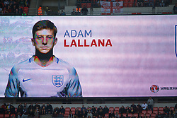 LONDON, ENGLAND - Sunday, March 26, 2017: England's Adam Lallana is announced in the starting line-up on the big scoreboard screen before the 2018 FIFA World Cup Qualifying Group F match against Lithuania at Wembley Stadium. (Pic by Lexie Lin/Propaganda)