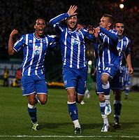 1Football - League One - Brighton & Hove Albion vs. Dagenham and Redbridge<br /> Brighton's Glenn Murray celebraates with Elliott Bennett and Craig Noone after scoring Brightons second goal