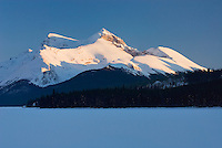 Winter sunset over the Queen Elizabeth Range and Maligne Lake, Jasper National Park Alberta Canada